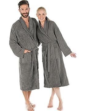 Albornoz con cuello algodón rizado, abrigo de sauna para hombre y mujer, calidad Bata flauschig agradable Celin...