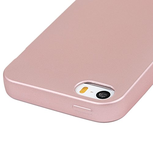 Custodia iPhone 5s,5,iPhone SE Case Silicone Ultra Slim - MAXFE.CO Cover Morbido TPU Gel,Shock-Absorption Bumper,Ultra Sottile Liscio,Superficie liscia - oro rosa oro rosa