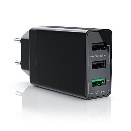 CSL - USB Ladegerät 30W QC 3.0 | 3-Port Netzteil inkl. Quick-Charging / Schnellladefunktion | Smart Charge intelligente | geeignet für Handys, Smartphones, Navis, Tablets uvm. | schwarz