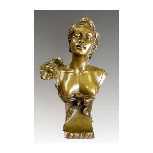 Kunst & Ambiente - Auguste Moreau - Jugendstil Frauen Büste in Bronze - signiert - Deko Figur - Wohndeko - Edel Einrichtung -