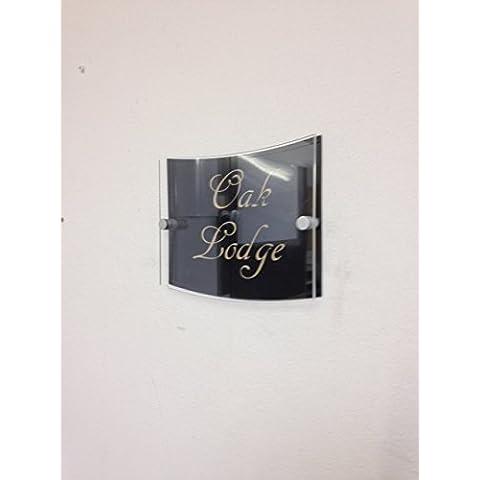 Prestige grabado soporte apagado curvado rectangular House Signs CAVAN–Placa para número de puerta (Street construcción Nueva Moderno y Contemporáneo