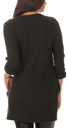 malito Damen langer Pullover aus Strick | basic Longsleeve | Strickkleid aus Feinstrick �?Rundhals - Oberteil �?1738 Oliv