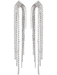 Boucles d'oreilles clips - lustre argenté avec des cristaux et strass brins - Britt S par Bello London