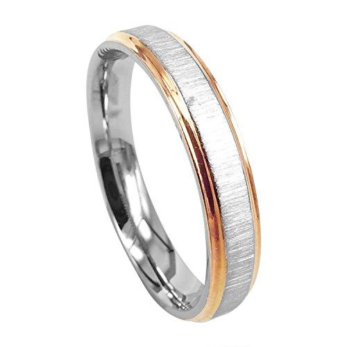 Everstone Damen-Ring Titan , Herren-Ring Titan , Freundschaftsringe , Hochzeitsringe , Eheringe, Bicolor, Breite 4mm Größe 60 (19.1) Damen Titan Ehering 4mm
