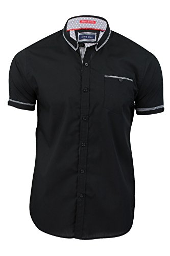 Colvin Maniche Corte Shirt Retrò Uomo Brave Soul Con Colletto Tessuto A Quadretti Bordo Top Stile Casual Nero