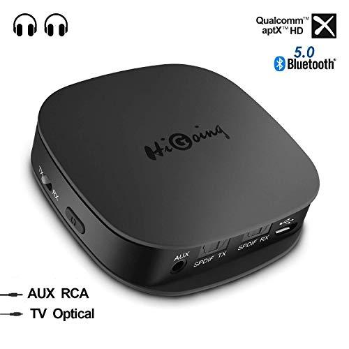 HiGoing Adaptador Bluetooth 5.0 Inalámbrico,Transmisor Receptor 2 en 1 con Toslink Óptico/SPDIF/AUX de 3.5mm / aptX HD/aptX LL, 2 Conexiones para TV, PC, Estéreo Doméstico, Audio del Coche, Más