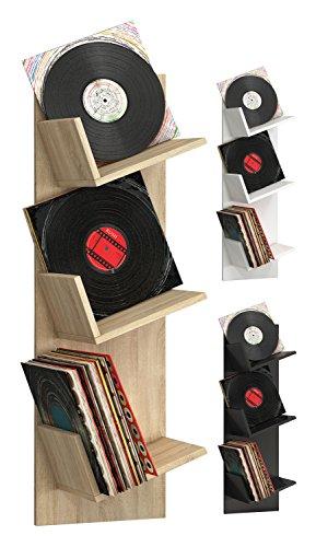 """VCM Regal Schallplatten Möbel LP Aufbwahrung Archivierung Wandregal Hängeregal Holz Schwarz 106 x 33 x 26 cm """"Sulda"""""""