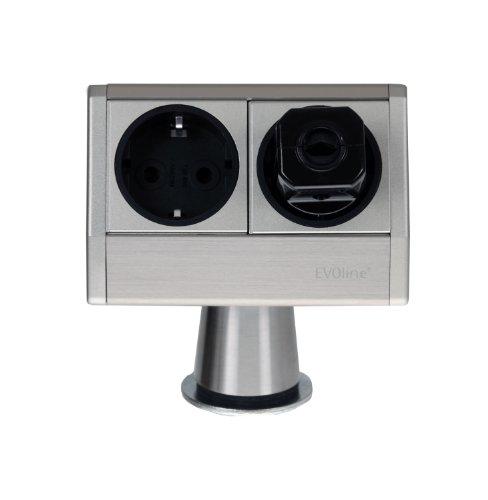 Schulte Evoline T-Dock 930.36.906 - Torretta multipresa, colore: Alluminio anodizzato
