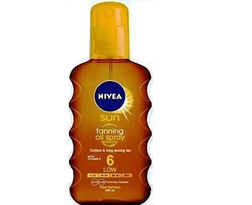 Nivea Sun Deep Tanning Oil Spray SPF 6, Golden & Lond-Lasting Tan 200ml -