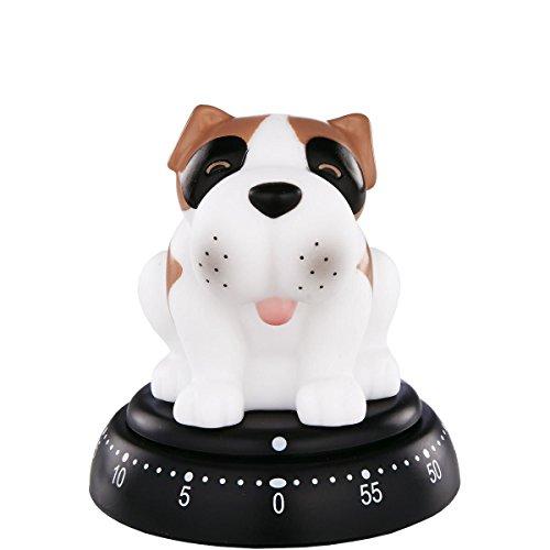 BUTLERS Time Bandits Eieruhr Hund - Timer bis 60 min - weiß-braun -Küchentimer - Ø 7,6 cm