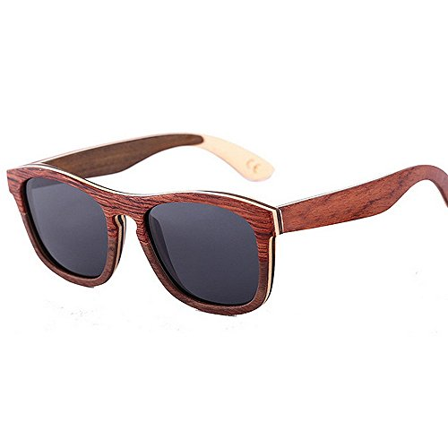 Ppy778 Hölzerne Sonnenbrille mit polarisierter Linse für Männer und Frauen (Color : Brown)