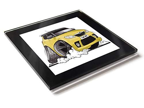 Koolart Karton Auto Skoda Fabia Vrs Glastisch Untersetzer mit Geschenkverpackung - Gelb, 10cm x 10cm