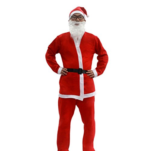 Zhhlinyuan Weihnachtsdekor Men's Father Onesize Pleuche Santa Claus Outfit Christmas Suit Festive Adult Fancy Dress