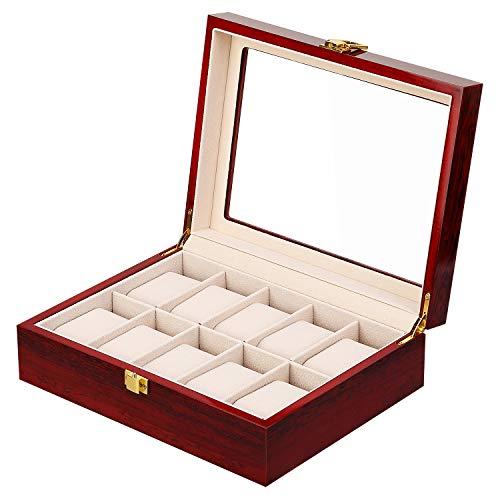 Uten Uhrenbox Holz Uhrenkasten Aufbewahrungbox Uhren, Für 10 Uhren