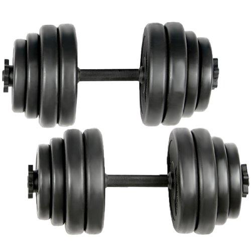 Physionics - Set de 2 Haltères Courts 30 kg 2 Barres et 16 Disques Plastiques