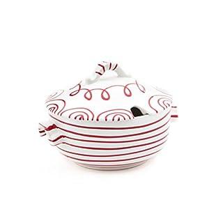 Gmundner Keramik Manufaktur 0182TSGL23 rotgeflammt Suppentopf glatt, 2 L