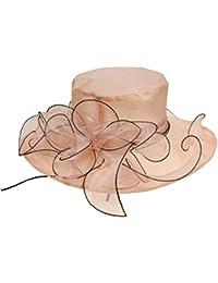 Amayay Gorras Señoras Elegante De con Sombrero Señoras ala Ancha Sombrero  Estilo Simple De Campana Moda Vintage Estilo Moderno… d1492d592a2