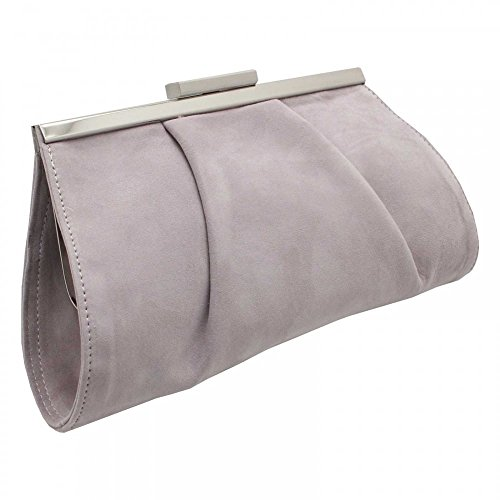 Peter Kaiser Likana Framed Clasp Close Clutch Handbag Grey Suede