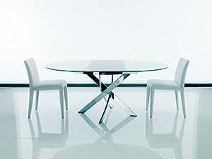 Tavolo barone rotondo e allungabile di bontempi cristallo serigrafato bianco lucido - Tavolo rotondo allungabile cristallo ...