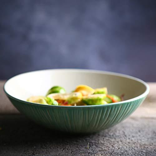 CWJ Küche Küche Besteck Set Creative Bowl Restaurant Dish Western Plate, Keramik Suppenschüssel Geschirr Creative Gradient Green Home Küche Salatschüssel Einfache Schüssel Ramen Bowl 1000Ml