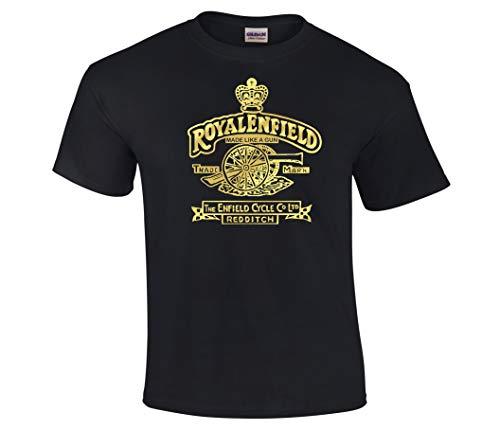 abcb1855723 Made Like A Gun Royal Enfield Retro Motorcycle Gold Foil Print T-Shirt