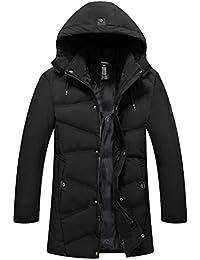 MRULIC Homme Blouson Manteau imperméables Veste Top Hiver détachable  Chapeau Couleur Unie Fermeture éclair à Capuche 1a268566531