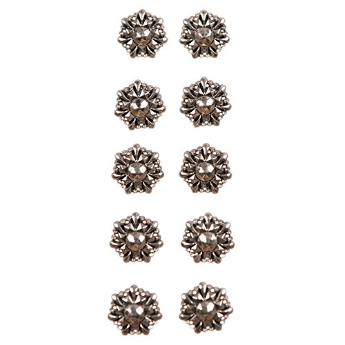 Mibo ABS Metal Plated Button 2 Hole Hammered Effect with Perforated Center 36 Line Copper Silver 10 Pack