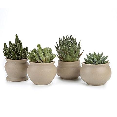 T4U 7.5CM Ceramic Ancient Style Serial No.1/2/3/4 Set Sucuulent Plant