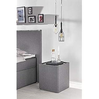 Furniture for Friends Möbelfreude® Nachtkonsole Nele Hellgrau | Nachttisch mit Glasplatte und Zwei Fächern | Idealer Nachtschrank für Boxspringbetten und Polsterbetten