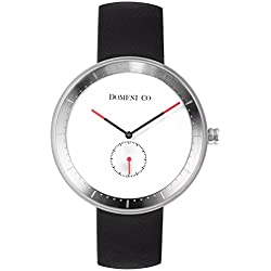 Domeni Co SSL01 Unisex Signature Series Stainless Steel Black Leather Strap Band White Dial Watch