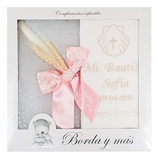 Pack Bautizo PERSONALIZADO incluye paño Bautismal y Vela de cera blanca. Modelo París rosa