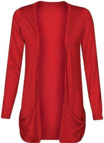 Donna goccia Pocket fidanzato Open cardigan top da donna grande taglie forti cardigan UK 161820222426 Red