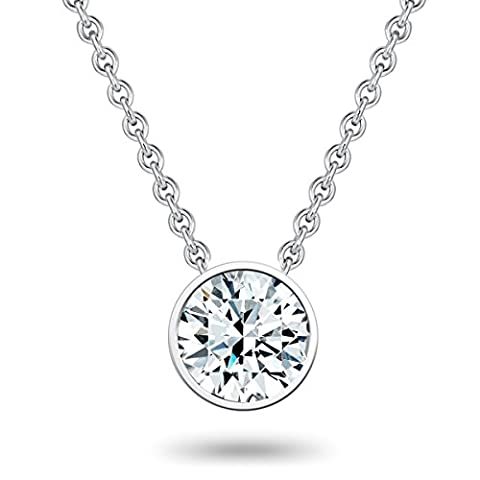 Tresor 1934 Set Sterling Silver 925 rhodium-plated Necklace with pendant with white Zirconia size 42+5 cm