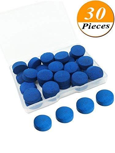 Kenkio 30Stück Cue Tipps 13mm Pool Billard Queue Stick Tipps Ersatz mit Aufbewahrungsbox für Snooker Pool Queues, Blau -