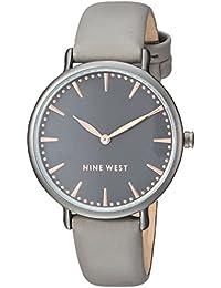 Nine West Women's Quartz Metal and Polyurethane Dress Watch, Color:Grey (Model: NW/2111GNGN)