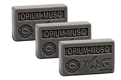 Maison du Savon de Marseille - 3er-Set Arganöl-Seifen - Opium-Moschus (Opium-Musc) - 3 x 100 g -