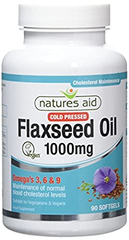 Natures Aid Flaxseed Oil, 1000 mg, 90 Softgel Capsules (Cold Pressed Flaxseed Oil, Omega 3, 6 and 9 for the Maintenance of Normal Cholesterol Levels, Made in the UK, Vegan Society