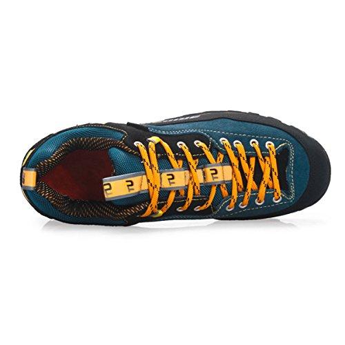 SANANG Hommes Outdoor Chaussures de randonnée en cuir véritable imperméable anti-dérapant Sneakers respirant Bleu