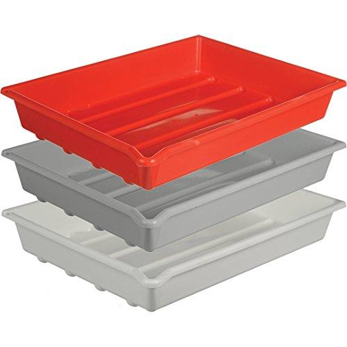 Paterson PTP337 Juego de 3 bandejas de revelado 40.6 x 50.8 cm, Color Gris y Rojo y Blanco