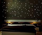INDIGOS UG Indigos LSS1 Leuchtpunkte floureszierend für Sternenhimmel, runde Leuchtsterne selbstklebend ideal für Kinderzimmer und Schlafzimmer, 256 Leuchtaufkleber