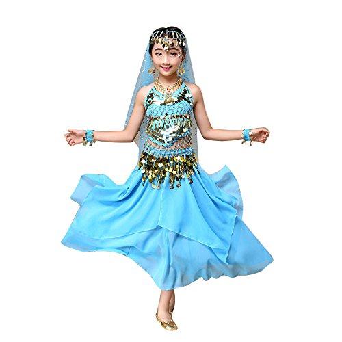 Lonshell Bauchtanz Tanzkleidung für Kinder Mädchen Chiffon Weste + Rock Anzug Performance Kleid Tanzkostüme Ägypten Tanz Belly Dance Kostüm Outfit -