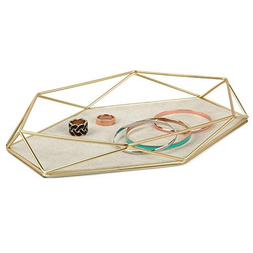 UMBRA Prisma Jewelry Tray. Plateau à bijoux Prisma. En métal doré mat et tissu. Dimension 28x18.4x3.8cm