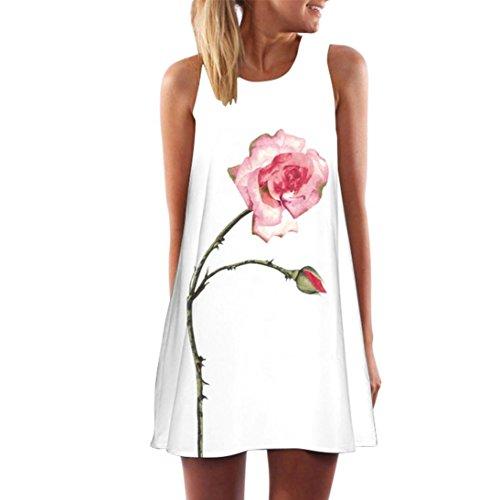 TUDUZ Damen Sommer Vintage Boho Ärmelloses Sommerstrand Gedruckt Kurzes Minikleid Blumenkleid T-Shirt Tops Kleider-Faschingskostüme (Weiß-F, S) -