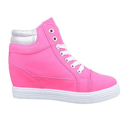 Damen Schuhe, 51155-Y, FREIZEITSCHUHE KEILABSATZ HIGH-TOP SNEAKER HIGH-TOP KEILABSATZ Pink