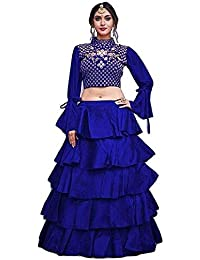 4d18d6349c Globatic Creation Women's Ruffle - frills Lehenga With Crop top blouse  piece with embroidery(Free
