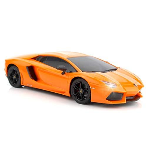 QUN FENG Ferngesteuertes Auto 1:18 RC Auto Lamborghini Aventador Radio Ferngesteuertes Autos Elektroauto Sport Racing Hobby Spielzeug Auto Grade Modell Fahrzeug für Kinder Jungen und Mädchen (Orange)
