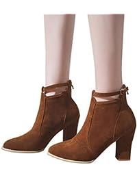 Sonnena Bota Martin - Botines de mujer Martín Botas Mujer Otoño invierno Corto grueso Moda Vendimia Plataformas Cuero Zapatos mujer tacones altos