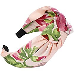 Diademas para Mujeres Flor Vintage Impreso Anudado Elástico Banda para Cabello Stretchy Accesorios para Cabello Ancho Banda de Pelo para Cabeza Diademas Mujeres Niñas Boho (Rosa, Talla única)