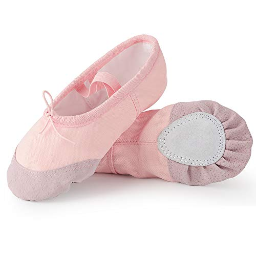 Soudittur Zapatillas de Ballet Suela Partida de Cuero Calzado de Danza para Niña y Mujer Adultos Rosa...