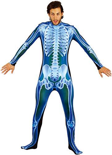 U LOOK UGLY TODAY Halloween Kostüm Herren Skelett Unisex X-Ray Jumpsuit Ganzkörperanzug Overall Karneval Verkleidungsparty Dress Up Party